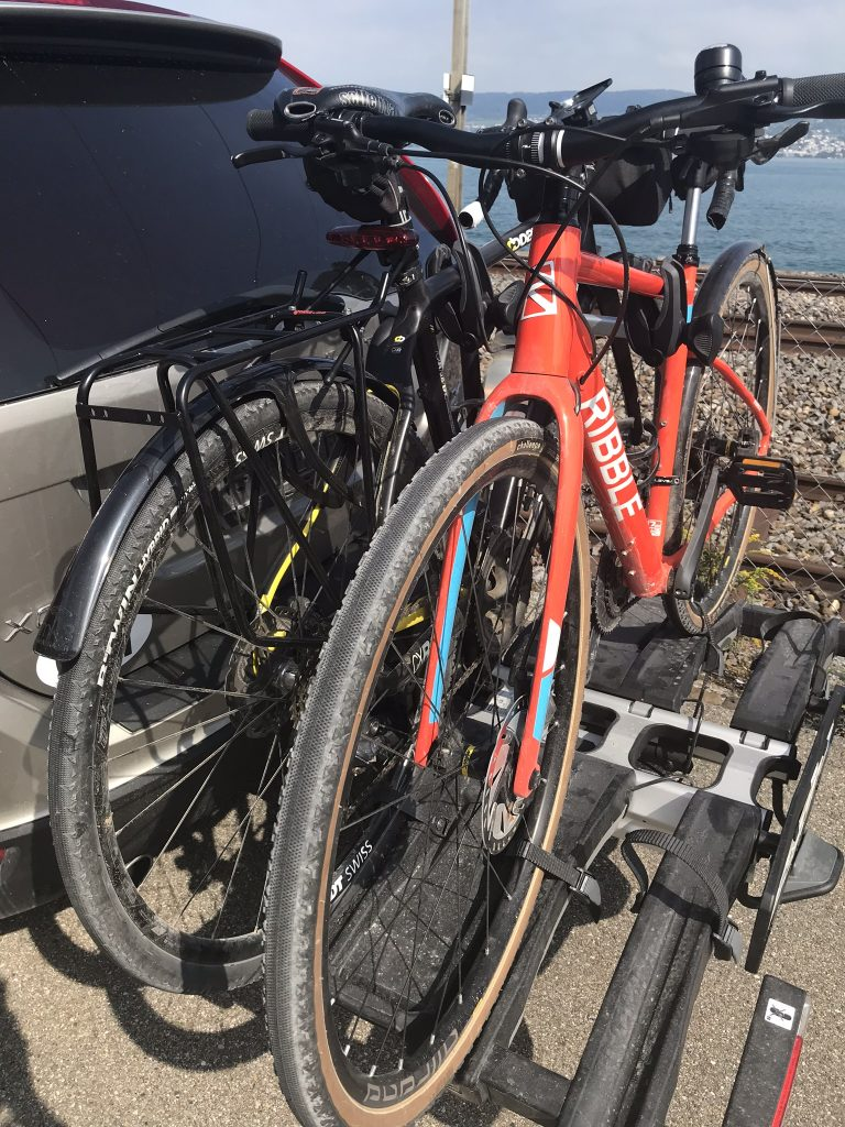 Thule Easyfold XT bicycle carrier with 2 bikes on it and one spare