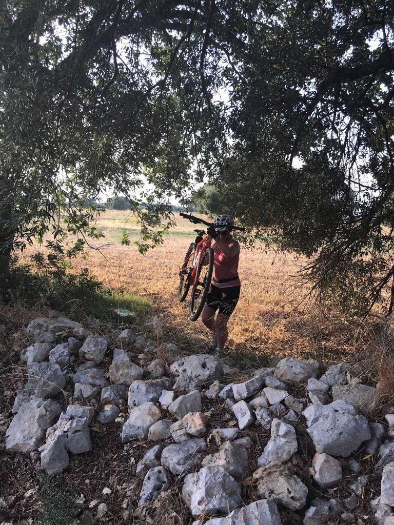 lifting a gravel bike
