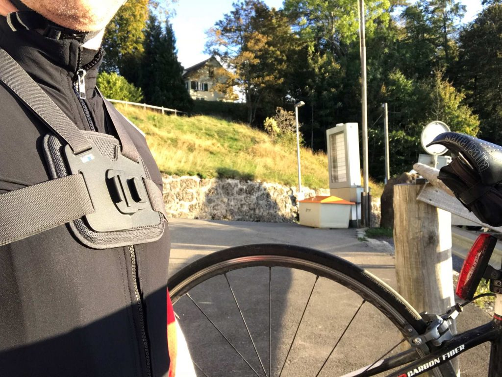 GoPro Chesty worn by a cyclist